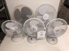 5 x Various Electric Desk Fans