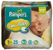 7 x Pampers New Baby size 1 newborn 2 5 kg Pack of 25 nappies |4015400526995