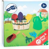 2 x small foot 1710 Play tools garden and beach set in carry bag, 6 tools with wooden shaft and meta