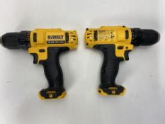 2 x DeWalt DCD710 10.8V XR Cordless Compact Drill Driver (Body Only)