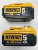 2 x DEWALT DCB184 18V 5AH LI-ION XR SLIDE BATTERIES