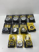 11 x Various Sized Stanley Measuring Tapes