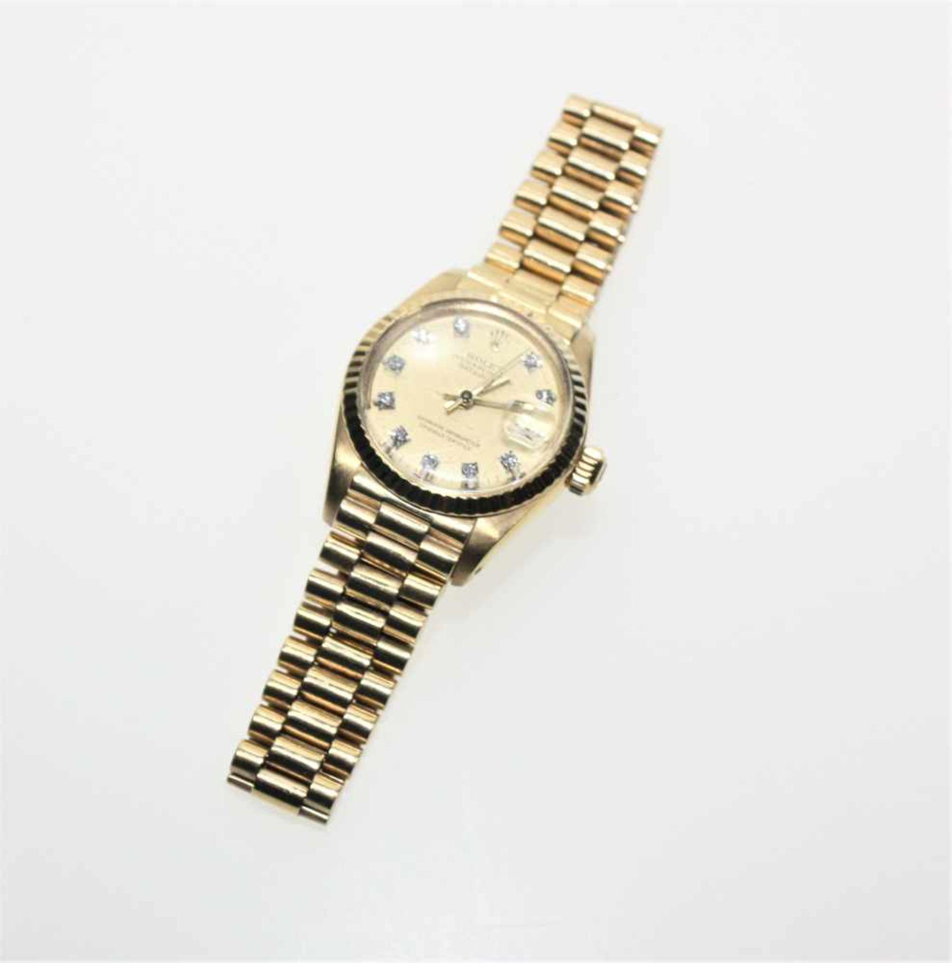 """Goldene Damen-Armbanduhr 18 K gest. """"Rolex, Oyster Perpetual"""", Datejust, Zifferblatt mit kleinen"""