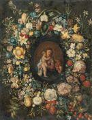 Antwerpener SchuleBlumenkranz mit Madonna und Kind und dem JohannesknabenÖl auf Kupfer. (2.