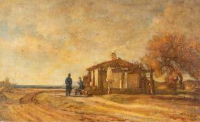 Friedrich SimonAn der ZollstationÖl auf Pappe. 35,3 x 57,4 cm.Privatbesitz, Süddeutschland.Friedrich