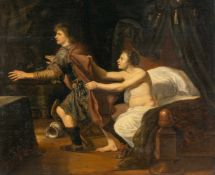 DutchJoseph und die Frau des PotipharÖl auf Holz. (Um 1700). 50,8 x 61,9 cm. Verso Caspar