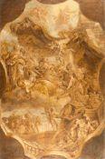 FlemishDie Götter im OlympÖl (in Grisaille) auf Leinwand, doubliert. (Um 1700). 81,5 x 53,5 cm.