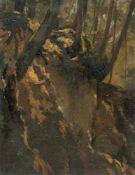 Hugo KauffmannWaldstudieÖl auf Leinwand, auf Karton aufgezogen. (18)75. 31 x 23 cm. Signiert und