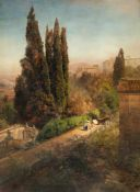 Oswald AchenbachBlick in den Garten der Villa d´Este in TivoliÖl auf Leinwand. 1881. 110 x 81 cm.