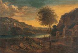 Johann Christian VollerdtBergige Flusslandschaft mit einem Kastell auf einem HügelÖl auf Leinwand,