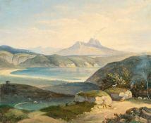 Carl Rottmann (Surrounding)Blick auf den Ätna in SizilienÖl auf Velin, auf Malpappe aufgezogen. 20,6