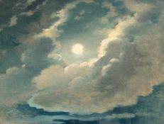 GermanVollmondnachtÖl auf Leinwand, auf Malkarton aufgezogen. 29,3 x 39 cm.DeutschGermanFull moon