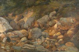 Carl MillnerBach mit FelsenÖl auf Papier, auf Leinwand aufgezogen. 29,5 x 43,5 cm. Verso auf der