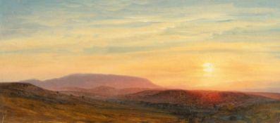 Anton HlavacekSonnenuntergangÖl auf festem Velin. 17,5 x 39,1 cm.Nachlass des Künstlers, verso mit