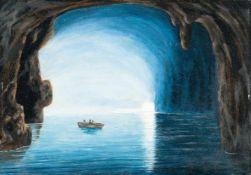 Friedrich Thöming (attributed)Die Blaue Grotte auf CapriÖl auf Malpappe. 27,5 x 39 cm. Verso von