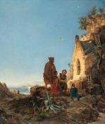 Carl Wilhelm GötzloffFamilie vor KapelleÖl auf Leinwand. 26,9 x 22,9 cm.Carl Wilhelm GötzloffCarl