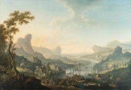 Johann Alexander ThieleFlusslandschaft mit Felsen und Flößern (Elbsandsteingebirge)Öl auf