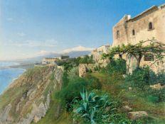 Friedrich Otto GelengBlick über Taormina auf den ÄtnaÖl auf Leinwand, randdoubliert. 1872. 54,5 x