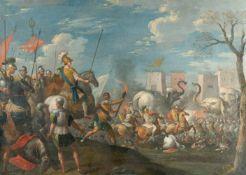 Charles Le Brun (Surrounding)Der Kampf gegen Hannibals ArmeeÖl auf Leinwand, doubliert. (Um 1680).
