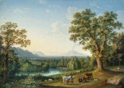 Jacob Philipp HackertIm Englischen Garten von CasertaÖl auf Leinwand, doubliert. 1800. 118 x 167 cm.