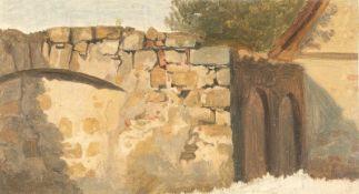 Ferdinand NeuhäuserStudie eines MauerstücksÖl auf Papier. (Um 1850/60). 11,4 x 20,9 cm. Auf der