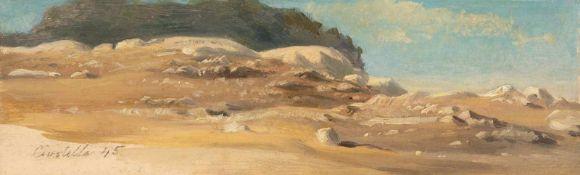 """August Albert Zimmermann""""Civitella""""Öl auf Papier, auf Karton aufgezogen. (18)45. 7,2 x 23 cm."""