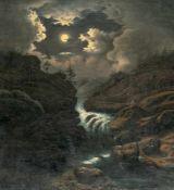 GermanLandschaft bei MondscheinÖl auf Leinwand. (Um 1840). 64,5 x 59,5 cm.Mondnacht Es war, als