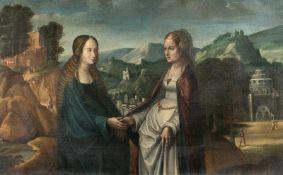 FlemishMariä HeimsuchungÖl auf Leinwand. (2. Viertel 17. Jh.). 71 x 113 cm.Die Episode, von der