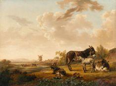Karel Dujardin (Surrounding)Gruppe aus drei Eseln mit Ziege vor holländischer LandschaftÖl auf