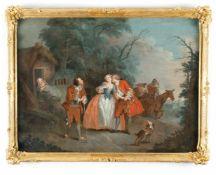Jean-Baptiste François Pater (Surrounding)Galante SzeneÖl auf Leinwand. 73,2 x 97 cm. Verso auf