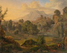 Schweizer SchuleHeroische LandschaftÖl auf Holz. (Um 1800/20). 26,9 x 33,4 cm. Verso unleserlich