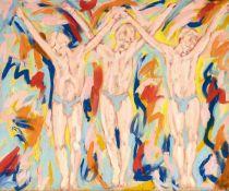 """Salomé""""Spandau Ballet""""Dispersionsfarbe auf Nessel. (19)82. Ca. 200 x 240 cm. Verso auf der"""