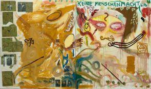"""Jonathan Meese""""Sing Dein Ding""""Mischtechnik und Collage auf Leinwand (2-teilig). (20)08. Ca."""