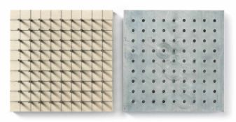 Günther UeckerNagelobjekt positiv-negativ2-teiliges Multiple. Leinwandbespannte Holzplatte