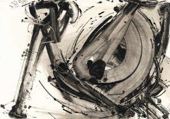 """Sonderborg (Kurt Rudolf Hoffmann)Komposition (""""3.XI.54 11:05-12:10 h"""")Tusche und Deckweiß a"""
