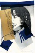 Andy WarholAus: Mick Jagger 1975Farbige Serigraphie auf strukturiertem Aquarellpapier von A