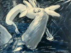 "Christian Ludwig Attersee""Ich esse das Mondloch""Acryl und Lack auf Leinwand. (19)81. Ca. 70"