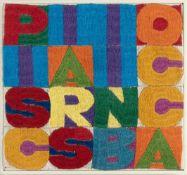 "Alighiero Boetti""Pisciarsi in bocca""Handstickerei auf Leinwand. (Ca. 1976). Ca. 17,5 x 18,5"