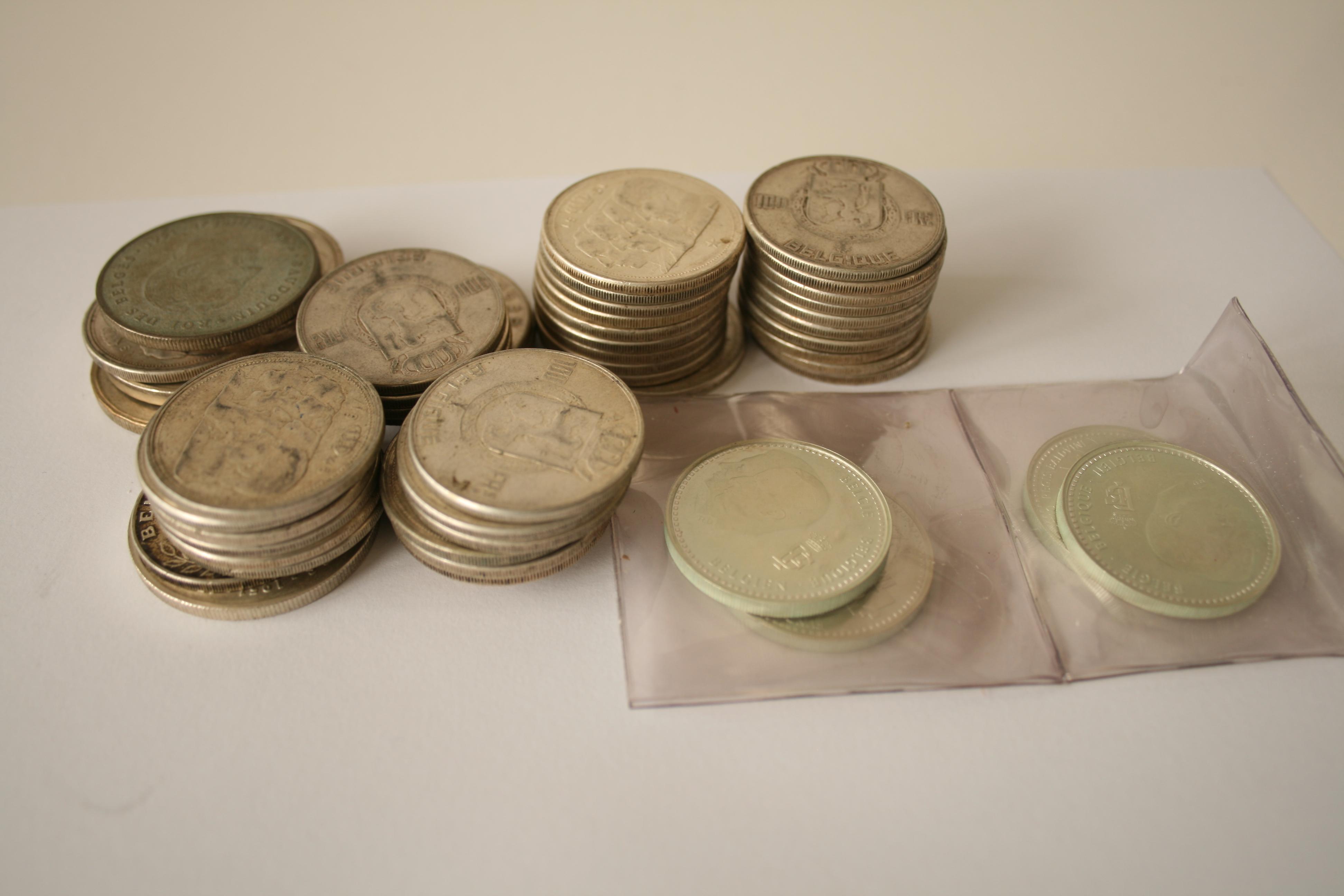Lot 4 - Ensemble de Monnaies belges en argent, pièces ou pièces commémoratives - Poids [...]