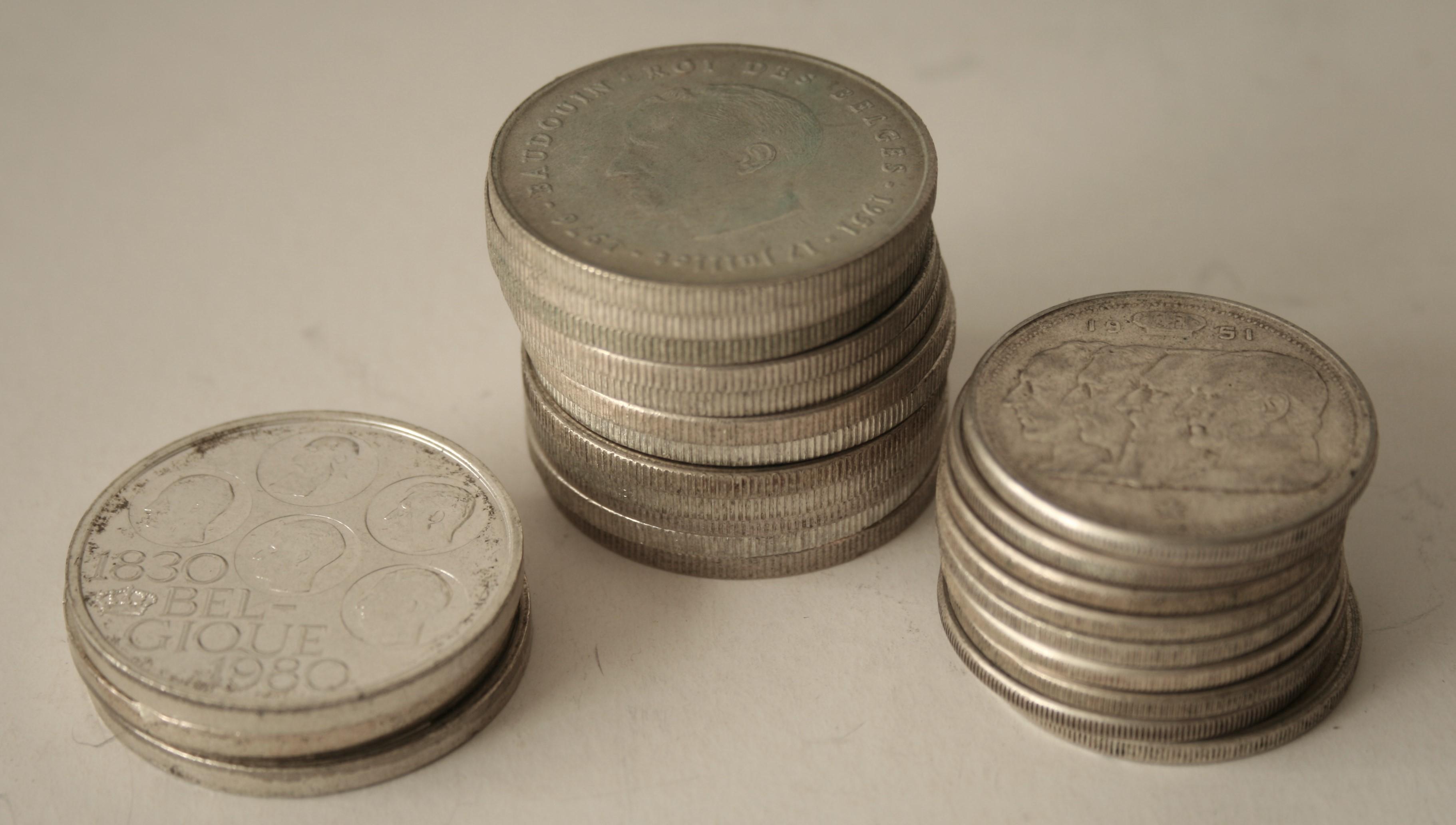 Ensemble de 12 pièces en argent 250 Frs Belgique + 9 pièces en argent 100 Frs [...]