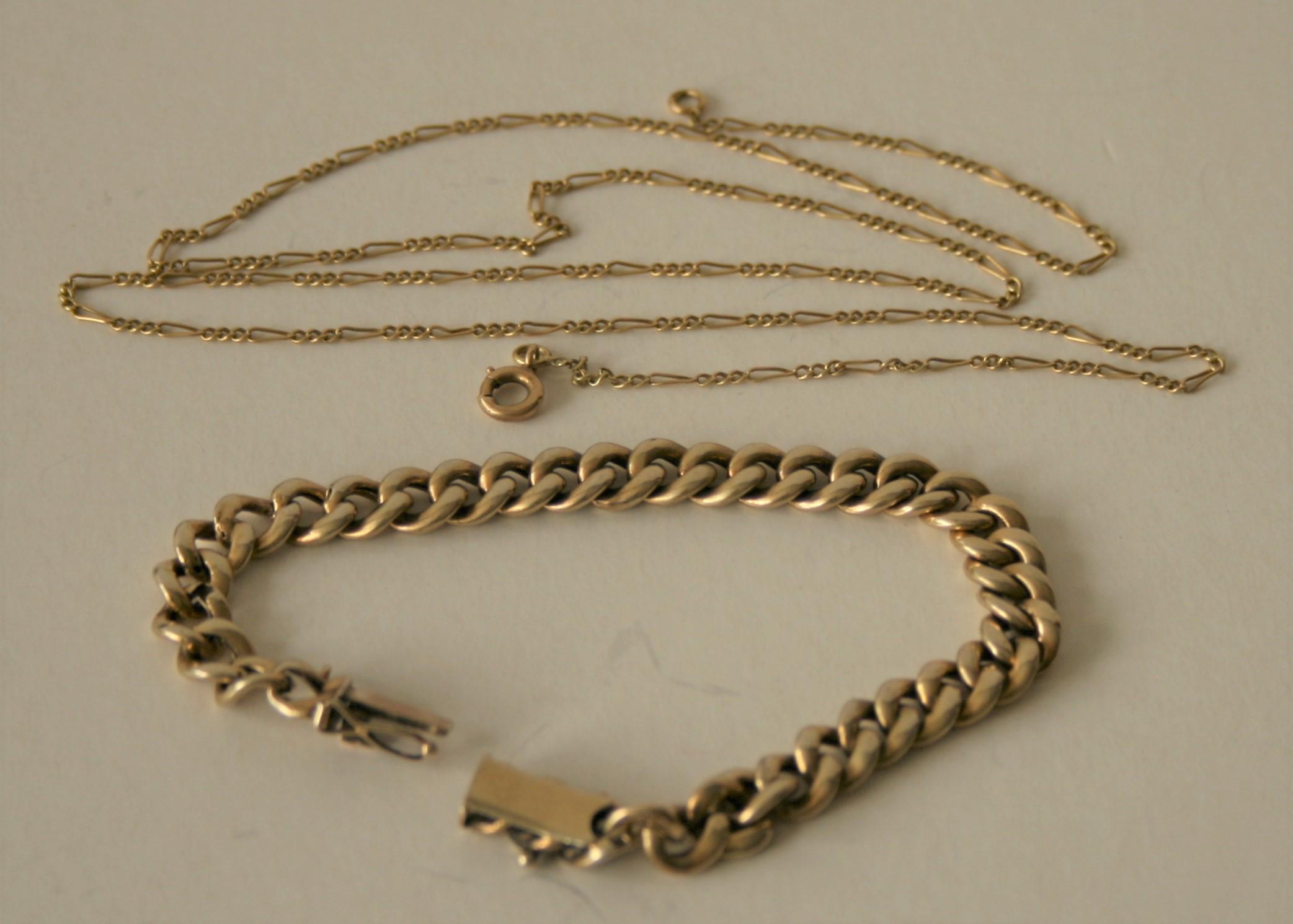 Ensemble de 2 chaîne en or 14 ct : chaîne à grosses mailles - Longueur : 17 cm, [...]