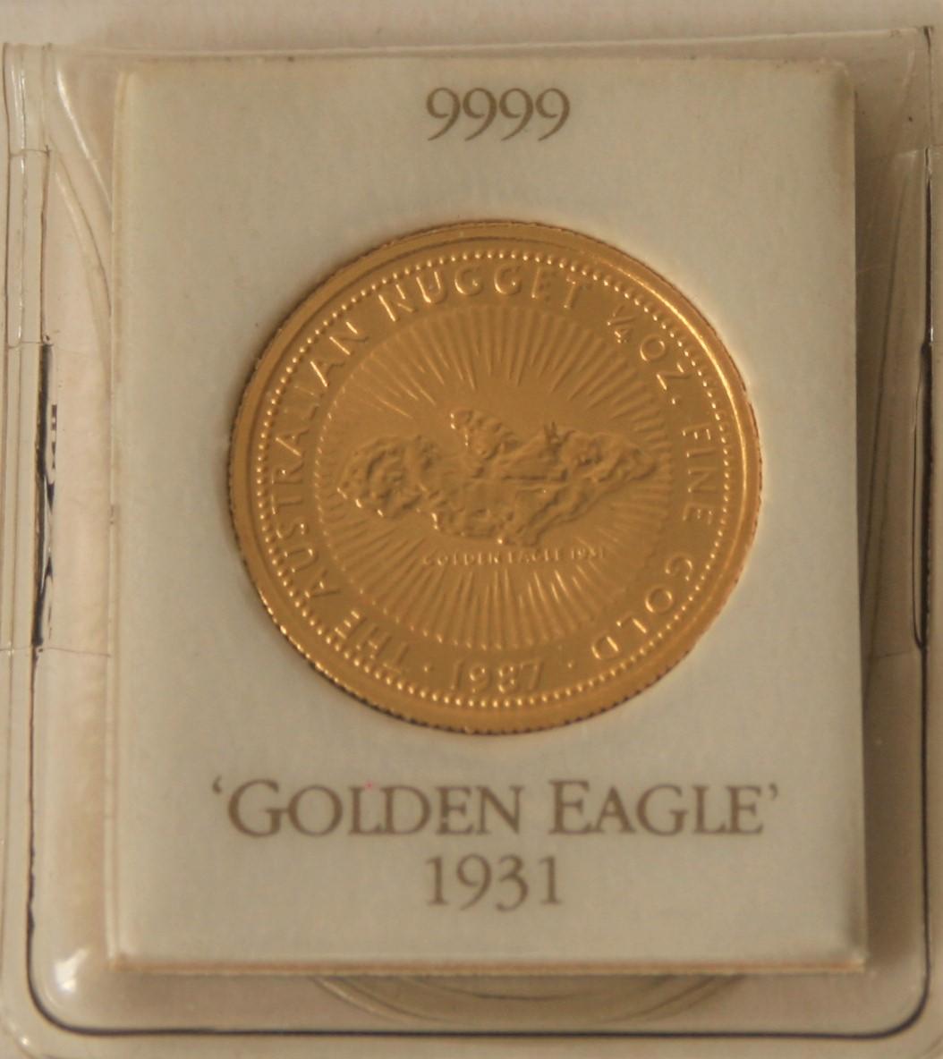 Pièce en or 999 Élisabeth II Australia Gold Nugget 1/4 Oz 25$, 1987 - Poids : 7,78 [...]