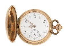 Pocket watch: gold hunting case watch Union Glocke, Dürrstein Dresden, ca. 1900<