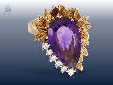 Ring: ausgefallener Amethyst/Brillant-Goldschmiedering, hochwertige Handarbeit in 18K Gold