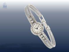 Armbanduhr: vintage Damenuhr der Marke Ankra mit Diamantbesatz, 14K Weißgold<