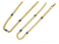 Kette/Collier: solides vintage Goldschmiede-Collier mit Saphirbesatz und passendem Armband