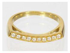 Ring: außergewöhnlicher Brillant-Goldschmiedering, 18K<b