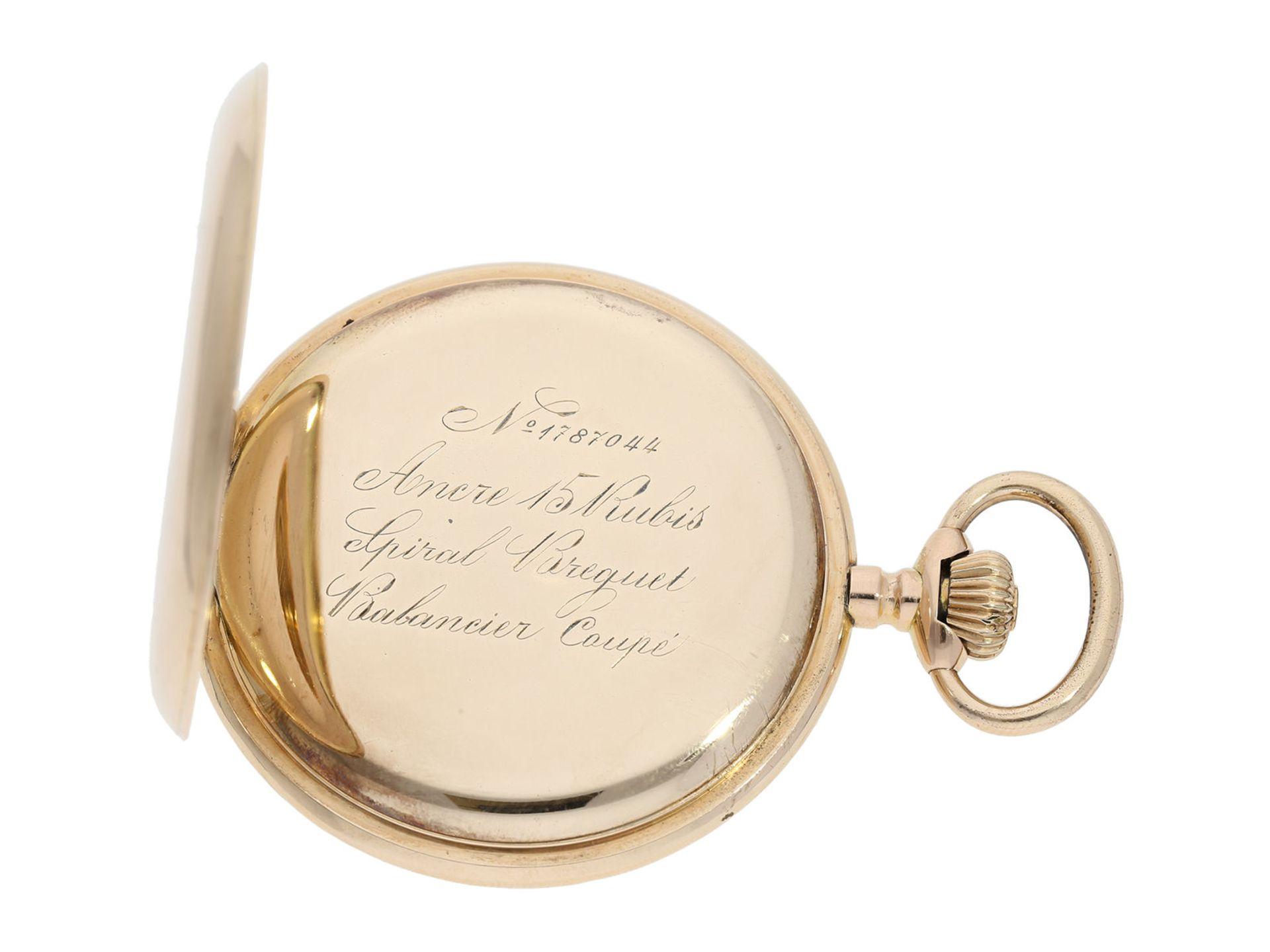 Pocket watch: heavy pink gold hunting case watch, Swiss Ankerchronometer, around 1900, No. - Bild 3 aus 8