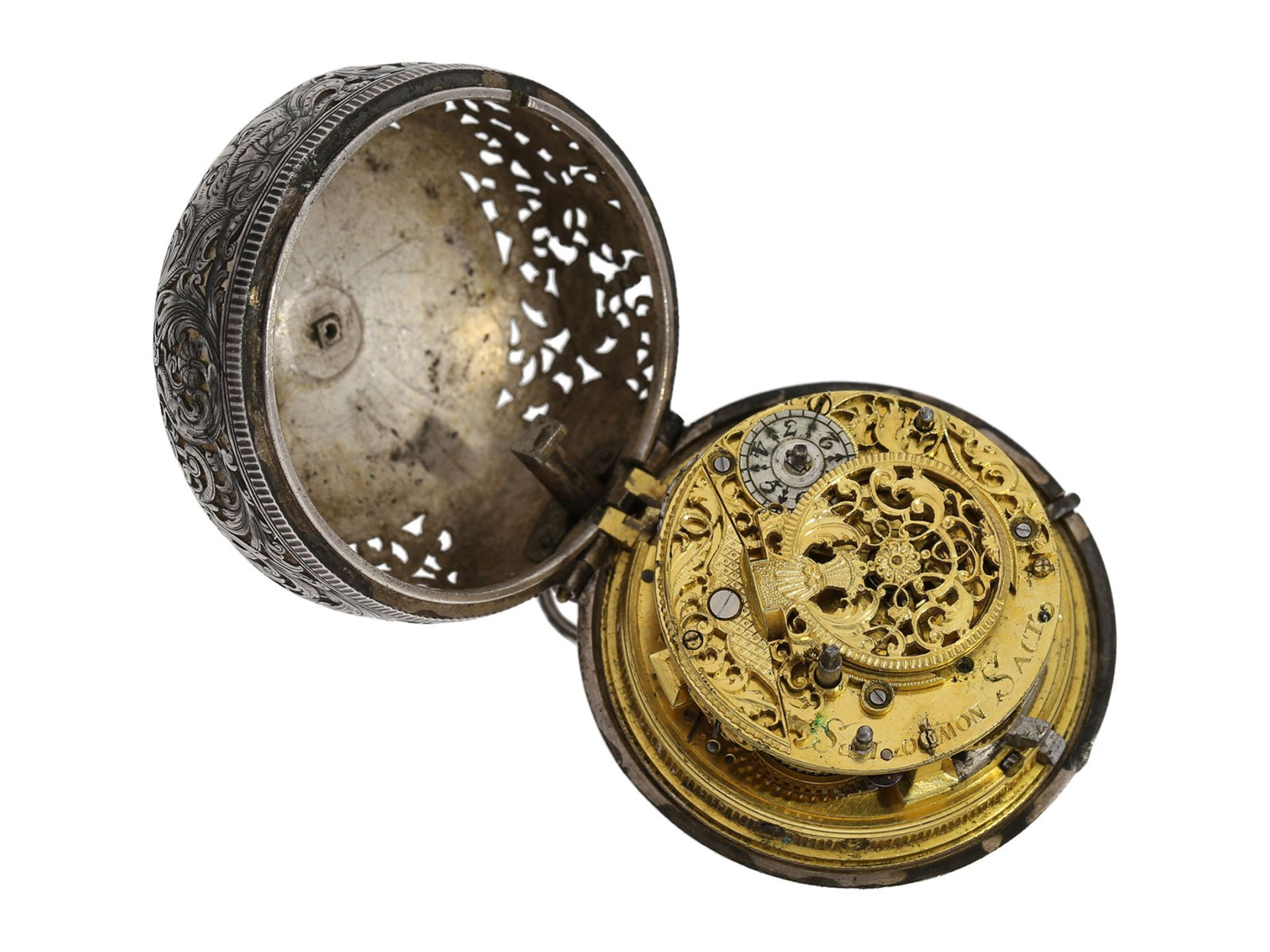 Pocket watch: Augsburg pair case repousse verge watch with relief case in exceptional quality and - Bild 7 aus 14