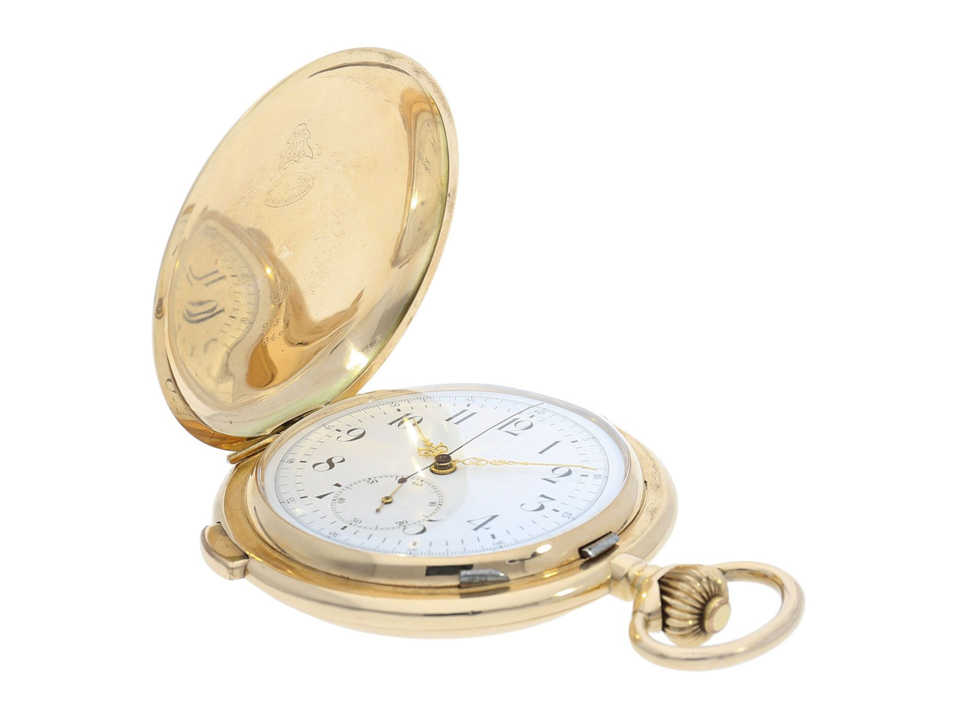 Pocket watch: especially large and heavy Swiss gold hunting case repeater with chronograph, Audemars - Bild 2 aus 8